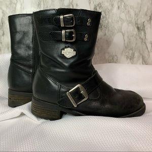 Harley-Davidson Black boots buckles & logo